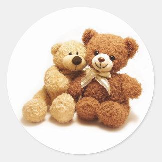 Two Cute Teddy Bears Design Round Sticker