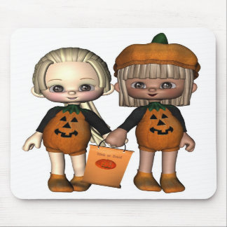 Two Cute Toon Trick-or-Treaters Mouse Pad