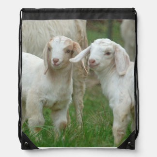 Two Cute White Baby Goats Drawstring Backpacks