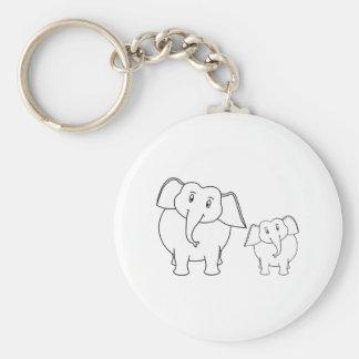 Two Cute White Elephants Cartoon Key Chains