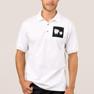 Two Cute White Elephants on Black. Cartoon. Polo Shirt
