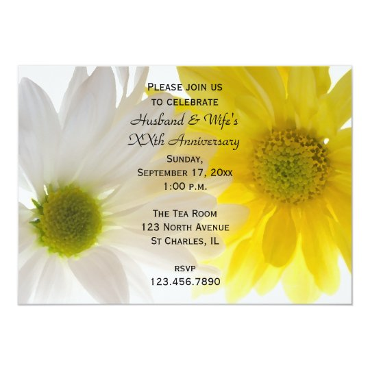 Two Daisies Wedding Anniversary Party Invitation