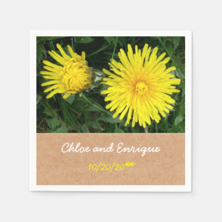 Two Dandelions Personalized Wedding Disposable Napkins