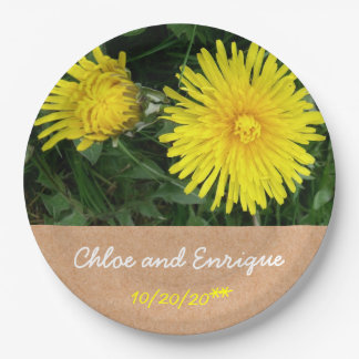 Two Dandelions Personalized Wedding Paper Plate