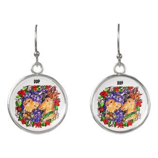 two deer love earrings