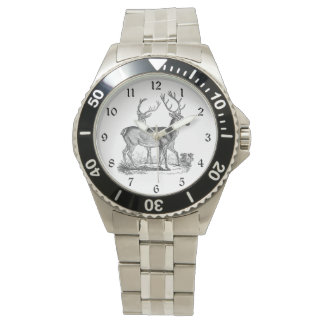 Two Deer with Antlers in the Woods Wristwatches