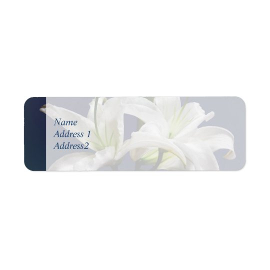 Two Delicate White Lilies Return Address Label