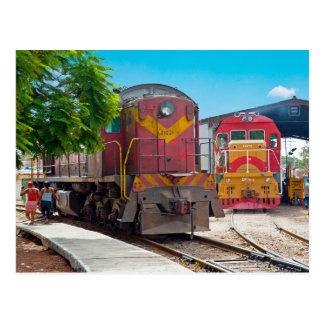 Two diesellocomotives postcard