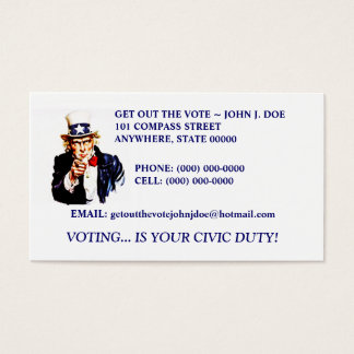 TWO DIFFERENT UNCLE SAM DESIGN GOTV BUSINESS CARDS