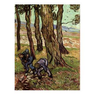 Two Diggers Among Trees, Van Gogh Fine Art Postcard