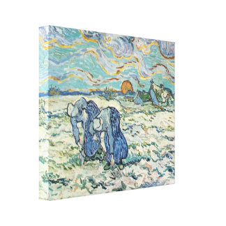 Two digging a grave in the snow by van Gogh Canvas Print