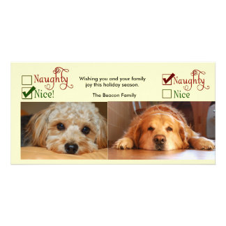 Two dog Christmas card photo template Customised Photo Card