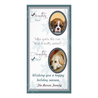 Two dog Christmas Card template Photo Card
