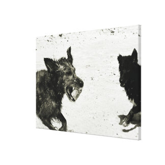 Two dogs playing on a beach. canvas print