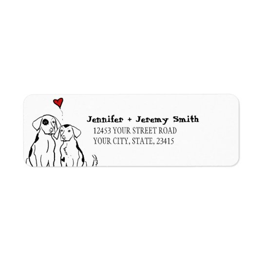 Two Dogs Puppy Love Return Address Label