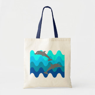 Two Dolphins With 4-Color Stylized Waves