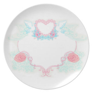 Two doves holding heart Plate