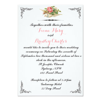 Two Doves Wedding Invitation Vintage