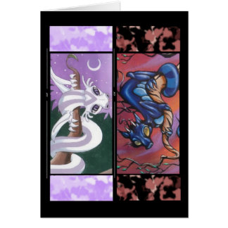 Two Dragon Bookmark Greeting Card