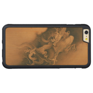 Two Dragons in Clouds Vintage Carved Maple iPhone 6 Plus Bumper Case