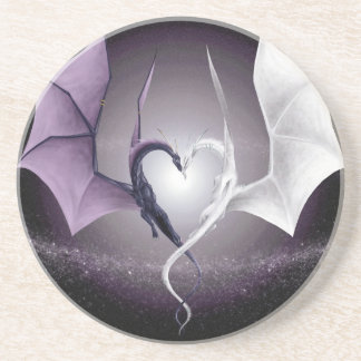 Two Dragons w/ One Heart Coaster