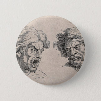 Two Drawings of Angry Faces 6 Cm Round Badge