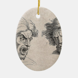 Two Drawings of Angry Faces Ceramic Ornament