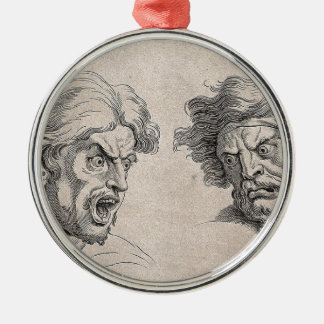 Two Drawings of Angry Faces Metal Ornament
