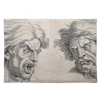 Two Drawings of Angry Faces Placemat