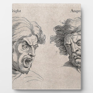Two Drawings of Angry Faces Plaque