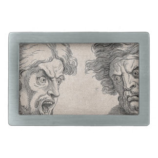 Two Drawings of Angry Faces Rectangular Belt Buckle