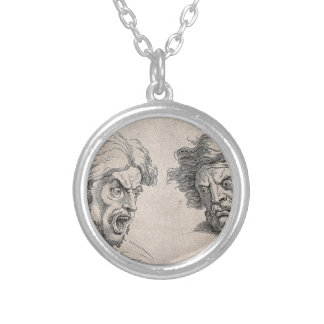 Two Drawings of Angry Faces Silver Plated Necklace