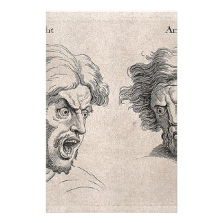 Two Drawings of Angry Faces Stationery