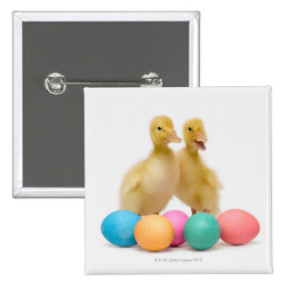 Two ducks with Easter Eggs 15 Cm Square Badge