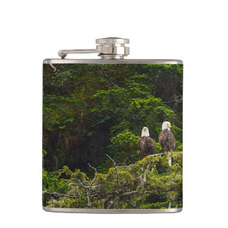 Two Eagles Perched Painterly Hip Flask