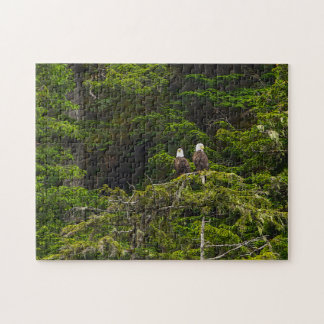 Two Eagles Perched Painterly Jigsaw Puzzle