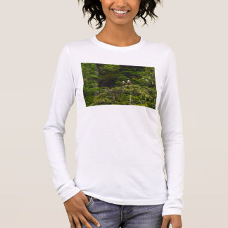 Two Eagles Perched Painterly Long Sleeve T-Shirt