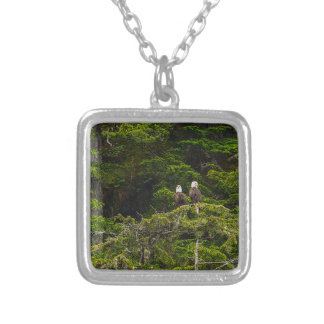 Two Eagles Perched Painterly Silver Plated Necklace