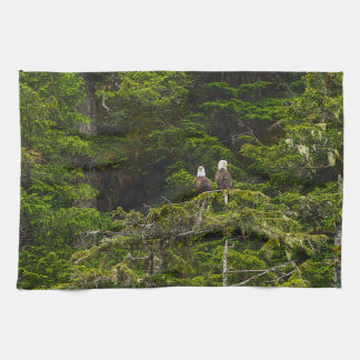 Two Eagles Perched Painterly Tea Towel