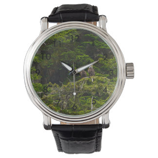 Two Eagles Perched Painterly Wrist Watches