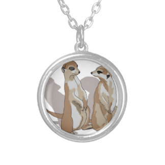 two earth males with shade silver plated necklace