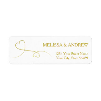 Two Elegant Gold Hearts Return Address Label