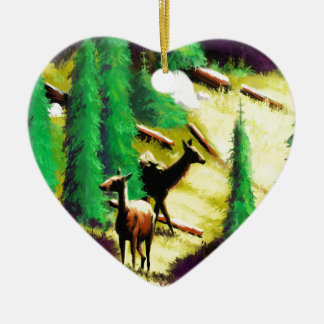 Two Elk In The Sunlight Ceramic Heart Decoration