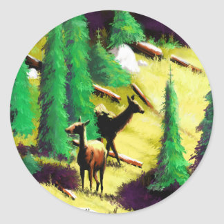 Two Elk In The Sunlight Classic Round Sticker