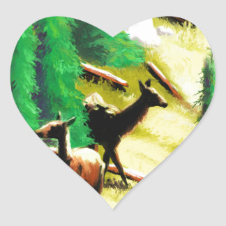 Two Elk In The Sunlight Heart Sticker