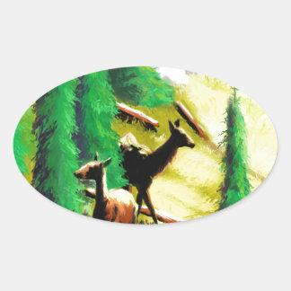 Two Elk In The Sunlight Oval Sticker