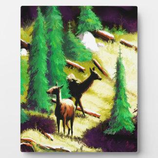 Two Elk In The Sunlight Plaque