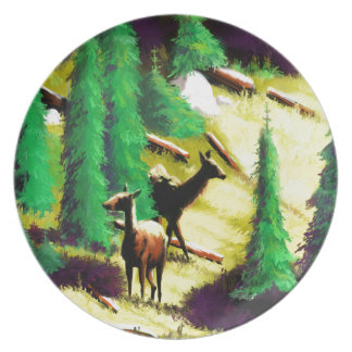 Two Elk In The Sunlight Plate