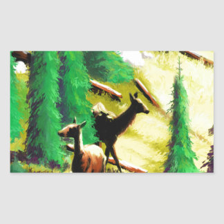 Two Elk In The Sunlight Rectangular Sticker