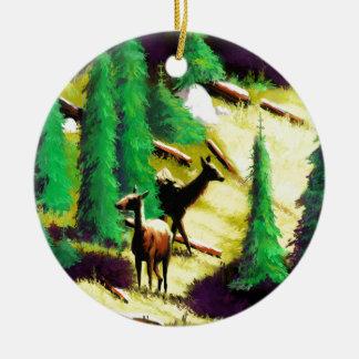 Two Elk In The Sunlight Round Ceramic Decoration